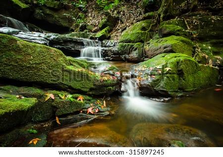 Sai Thip waterfall at Phu Soi Dao national park, Deep forest waterfall, Uttaradit, Thailand. - stock photo