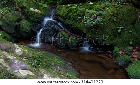 Sai Thip Waterfall at Phu Soi Dao National Park, Thailand. Image have grain or noise. - stock photo