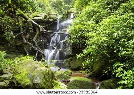 Sai Thip Waterfall at Phu Soi Dao National Park, Uttaradit, Thailand - stock photo