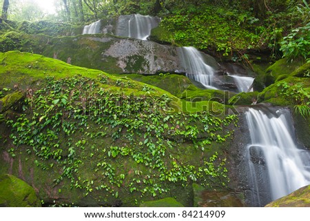 Sai Tip waterfall in rainforest at Phu Soi Dao national park,Uttaradit provinceThailand