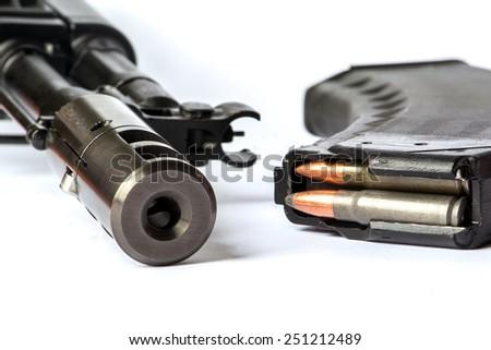 Saiga MK-03, russian carbine and buttstock - stock photo