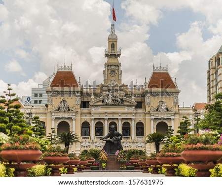 Saigon Central Post Office in HO CHI MINH CITY, VIETNAM - stock photo