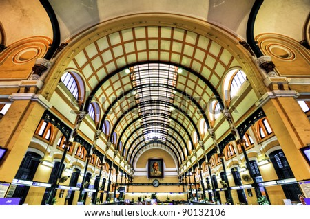 Saigon Central Post Office in Ho Chi Minh City, Vietnam. It was constructed between 1886-1891. - stock photo