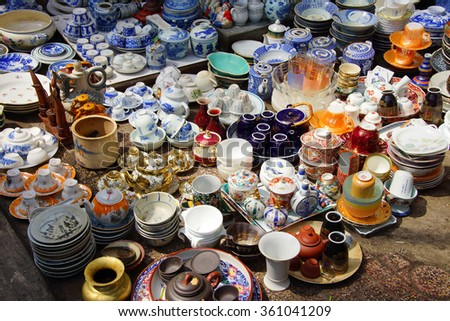 SAIGON - FEB 5, 2015 -  Vintage porcelain for sale at the  Antiques market in Saigon (Ho Chi Minh City),  Vietnam