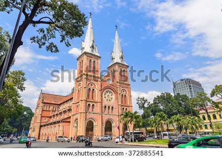 Saigon Notre-Dame Cathedral Basilica (Basilica of Our Lady of The Immaculate Conception) on blue sky background in Ho Chi Minh city, Vietnam. Ho Chi Minh is a popular tourist destination of Asia.