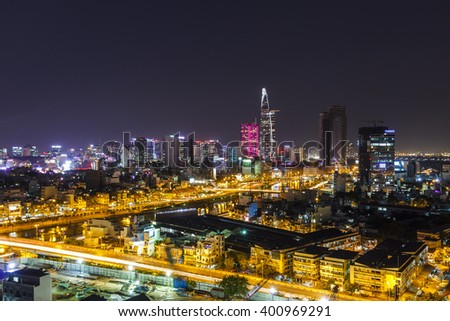 SAIGON,VIETNAM - APR, 09, 2015: Aerial night view of SAIGON center and TAU HU canal