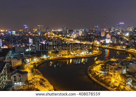 SAIGON, VIETNAM - DEC 20, 2014 : Impression Thi Nghe canal of Ho Chi Minh city at night.