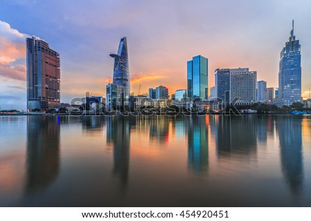 SAIGON, VIETNAM - JULY 09, 2016: Development of district 1, Ho Chi Minh City with many modern buildings and offices