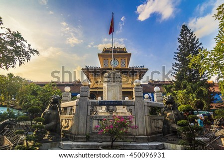 SAIGON, VIETNAM - JULY 05, 2016 - Front entrance the old traditional market of Cho Binh Tay in the Chinatown district of Ho Chi Minh Ville, (Saigon), Vietnam. - stock photo