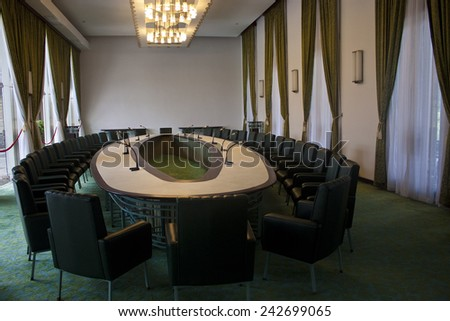 SAIGON, VIETNAM - JULY 27, 2012: Meeting Room of Reunification Palace(Independence Palace) in Ho Chi Minh City, Vietnam - stock photo