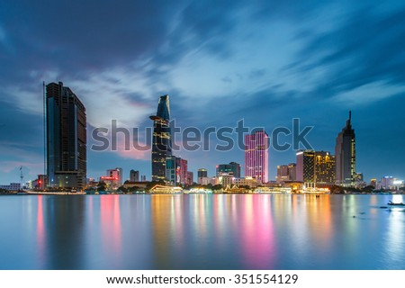 SAIGON, VIETNAM - JUNE 20,2015: Development of district 1, Ho Chi Minh City with many modern buildings and offices - stock photo