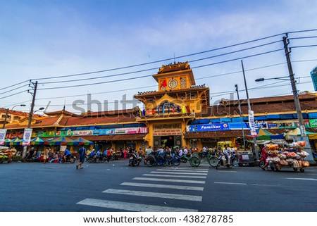SAIGON, VIETNAM - JUNE 05, 2016 - Front entrance the old traditional market of Cho Binh Tay in the Chinatown district of Ho Chi Minh Ville, (Saigon), Vietnam.
