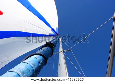 Sail and spar of a sailing yacht