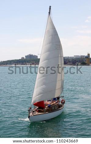 sail boat at sea - stock photo