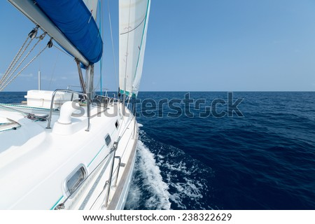 Sail boat moving in the open sea