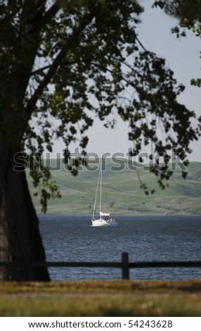 Sail Boat on Lake Francis Case - stock photo