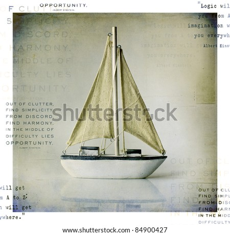 Sail boat with text - stock photo