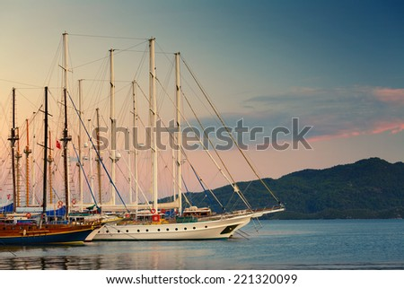 Sail boats in marine. Turkey - stock photo