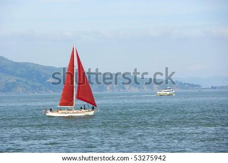 Sail boats in San Francisco Bay - stock photo