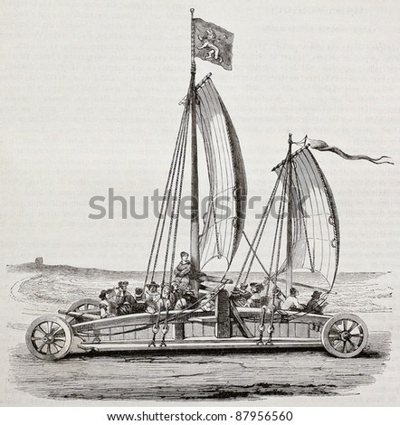 Sail cart old illustration. After 17th century print, published on Magasin Pittoresque, Paris, 1844 - stock photo