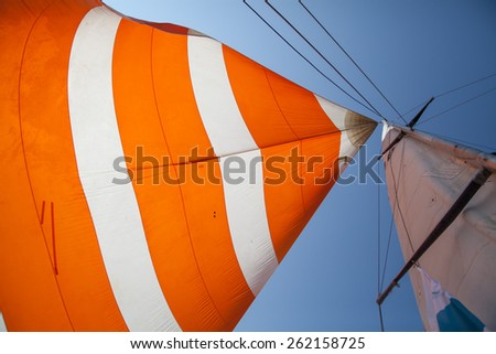 Sail of a sailing boat - stock photo