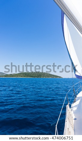 sail of a sailing boat. sailing yacht on the water
