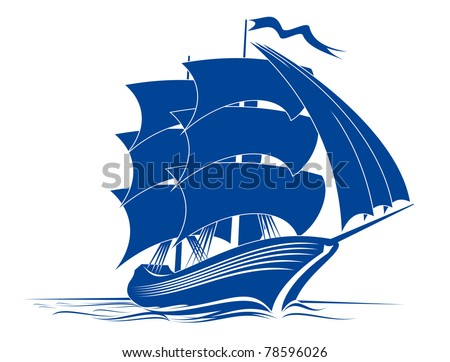 Sail ship in ocean water for travel or another design, such a logo. Vector version also available in gallery - stock photo