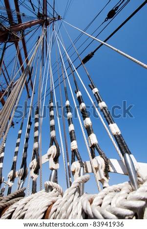 Sail ship ropes - stock photo
