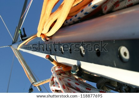 Sail with ropes - stock photo