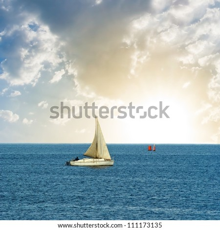 sail yacht  in a sea - stock photo