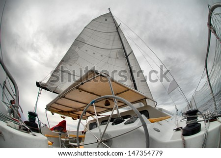 Sail yacht in the faithful weather - stock photo