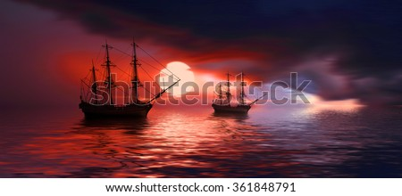 Sailboat against beautiful sunset - stock photo