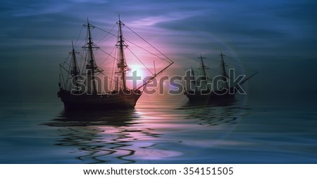 Sailboat against beautiful sunset landscape - stock photo
