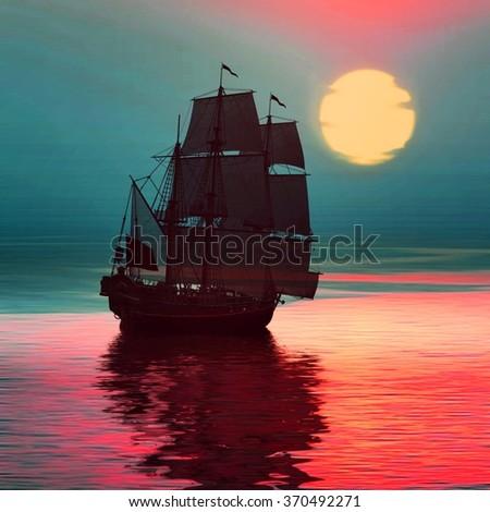 Sailboat against sunset landscape - stock photo