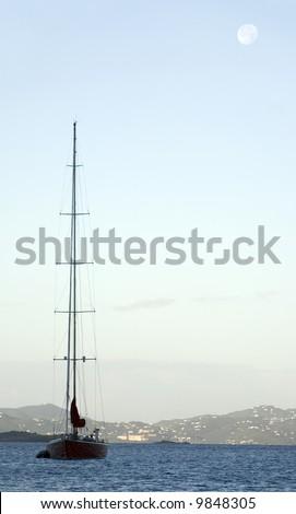 Sailboat and Moon - stock photo