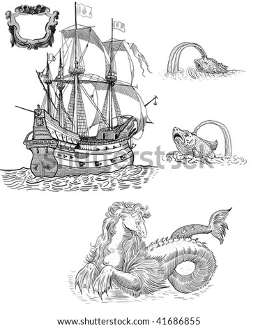 Sailboat and mythological monsters - stock photo