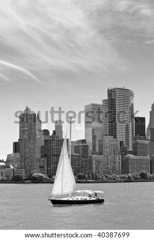 Sailboat and New York City skyline - stock photo