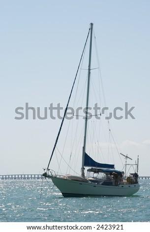 Sailboat at Anchor - stock photo