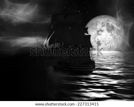 Sailboat at moonlit night with fog - stock photo