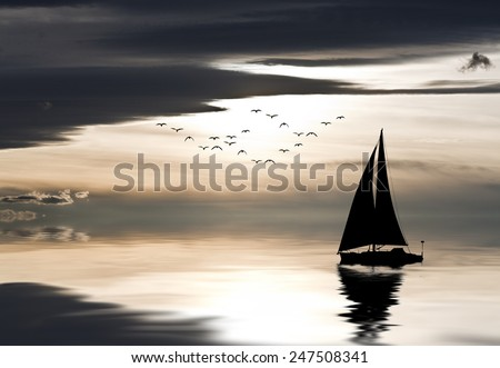 sailboat at sea - stock photo