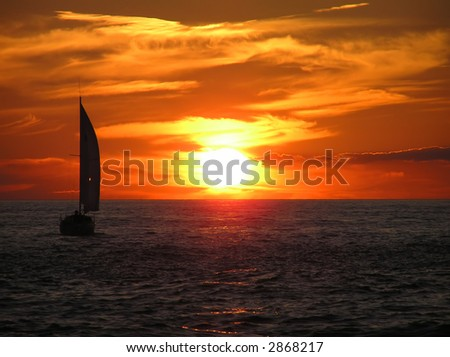 Sailboat at Sunset in Key West - stock photo