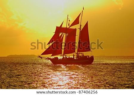 Sailboat at Sunset in Key West, Florida, USA - stock photo