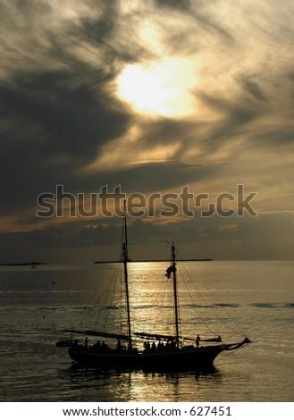 Sailboat at Sunset, Key West - stock photo