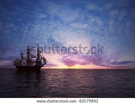 Sailboat at the sea at sunset ( 3D rendering) - stock photo