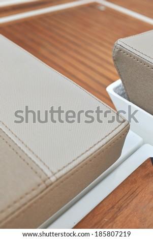 Sailboat bow, wood deck detail, - stock photo