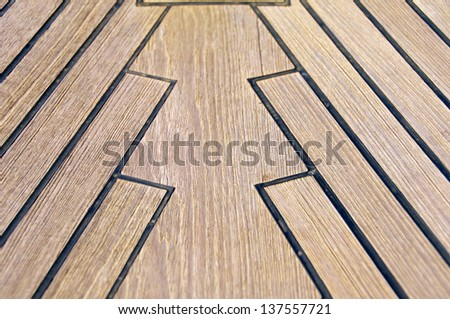 Sailboat bow, wood deck detail, Italy - stock photo