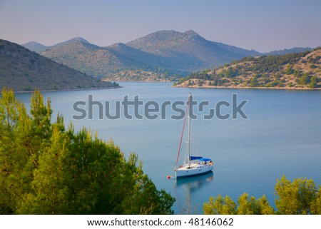 Sailboat in a bay