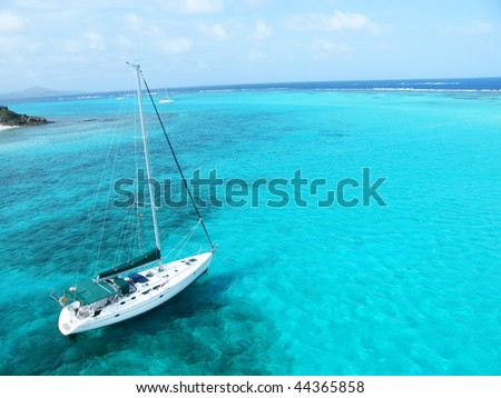 Sailboat in an Atlantic lagoon - stock photo