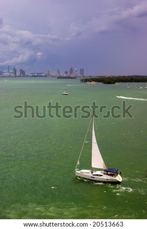 Sailboat in Biscayne Bay Near Port of Miami - stock photo