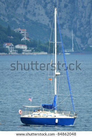 Sailboat in Boka Kotorska bay, Montenegro - stock photo